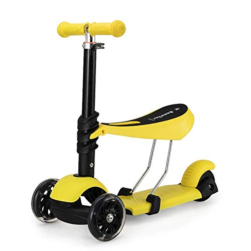 NBSDQ Children Kicking Scooter Scooter, Children's Scooter 3-Wheel Swing car (Suitable for 1-12 Children) (Color : Yellow)