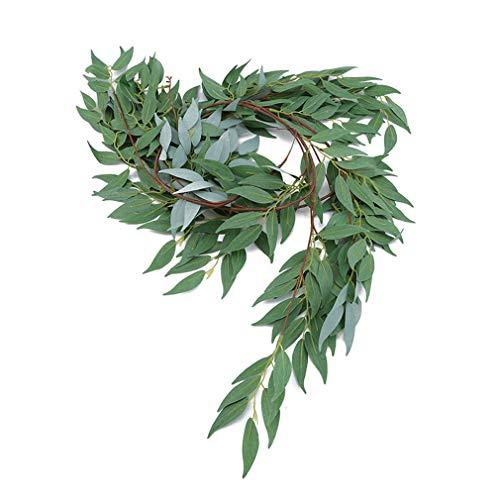 SUNSKYOO Wicker Künstliche Reben Hängepflanzen Hochzeit Geburtstag Party Kranz DIY Handwerk Kuchen Garten Wanddekoration, Herbst Frost weiß -