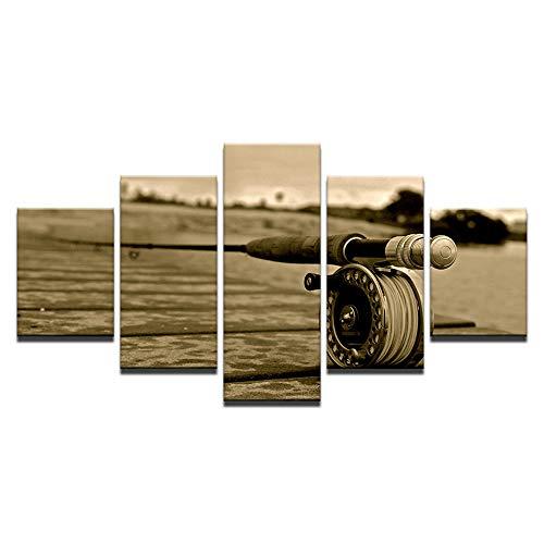 Whian 5Pcs/Set DIY Öl Gemälde Auf Leinwand Für Home Wand Art Dekoration Handgemalt Modernes Freizeit Angelrute 80/60/40x30CM Frameless