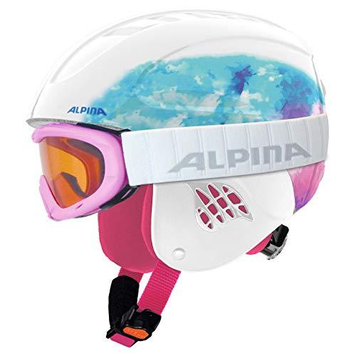 ALPINA Kinder Skihelm Carat mit Skibrille Ruby S SH Set Weiss (10) XS