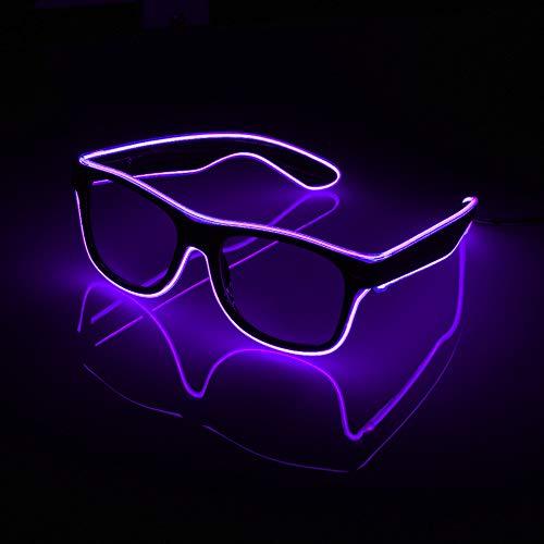 XIAOXIE Beleuchtete Linie Neon-Brille, Blinkender Nachtclub DJ-Geburtstagsfeier des 3-Funktionsmodus-Neujahrsfestes,Purple