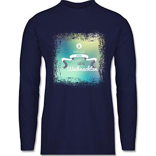 Weihnachten & Silvester - Frohe Weihnachten Bunt Vintage - Longsleeve / langärmeliges T-Shirt für Herren Navy Blau