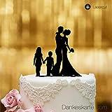 Dankescarte.COM Cake Topper Couple de mariés avec Enfants - pour Le gâteau de Mariage - Verre Acrylique Noir - XL