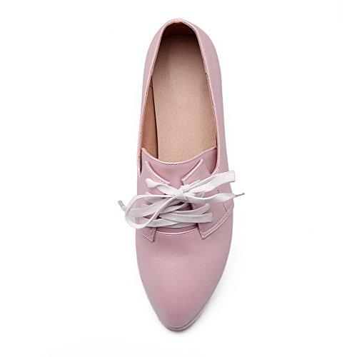 AgooLar Femme Lacet Pu Cuir Pointu à Talon Bas Couleur Unie Chaussures Légeres Rose