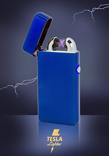 TESLA Lighter T08 | elektronisches USB Lichtbogen Feuerzeug, Blau