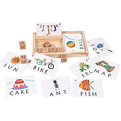 Syfinee Wooden Letters Puzzle Educational Toy Matching Letter Alphabet Spelling Card Games for Kids