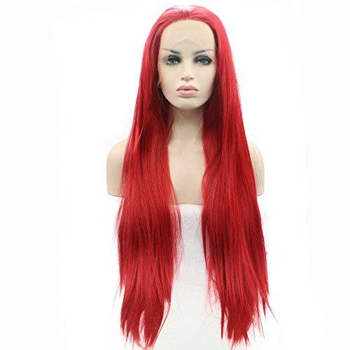 Sirena pelucas rojo puro resistente al calor del frente del cordón sintético pelucas para mujeres...