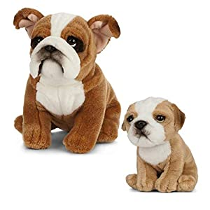 Living Nature Nature-AN497 Peluche de Perro y Cachorro, Color Brown & White, Paquete (Keycraft AN497