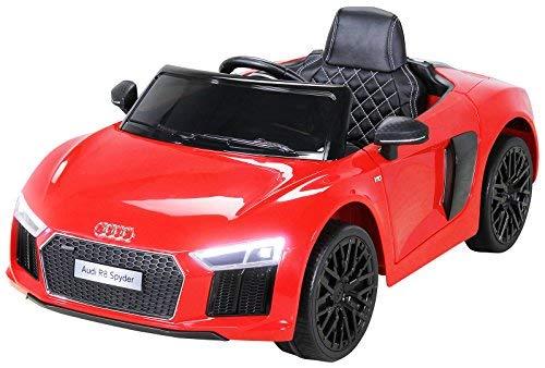 Actionbikes Motors Kinder Elektroauto Audi R8 Spyder - Lizenziert - 2 x 45 Watt Motor - Rc 2,4 Ghz Fernbedienung - Eva Vollgummireifen - USB - Softstart - Elektro Auto für Kinder ab 3 Jahre (Rot)