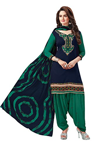 Ishin Synthetic Navy Blue & Green Printed Unstitched Salwar Suit Dress Material...
