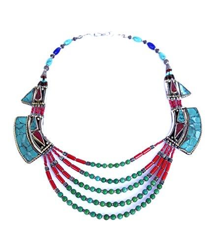 LAPISLAZZULI, turchese e CORALLO TIBETANA COLLANA PER LE DONNE 925 collana moda da argento TIBETANO