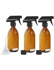 Nomara Organics® Braunglas Sprühflasche. Nachfüllbar/Bio-Kosmetik/Reinigung/Haarpflege (3 x 300ml)