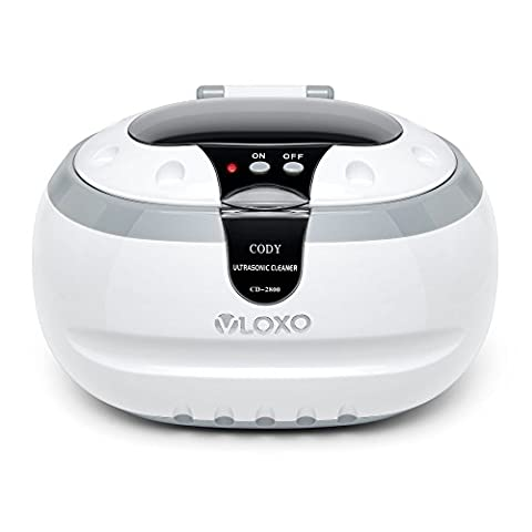VLOXO Ultrasonic Cleaner Household 600ml Professional Washer Machine with Cleaning Basket and Watch Stand for Cleaning and Polishing Jewellery, Eyeglasses, Earrings, Rings, Necklaces, Coins, Metal, Razors, Dentures, Combs, Tools, Parts, Instruments and