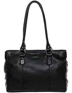 BACCINI Handtasche mit langen Henkeln NOELL - Schultertasche groß - Damentasche - echt Leder schwarz
