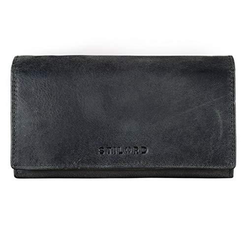 STILORD 'Marquesa' Leder Geldbörse Damen RFID Schutz NFC Portmonnaie Damen Vintage Geldbeutel Groß Quer mit Ausleseschutz in Geschenkbox Echtleder, Farbe:anthrazit -