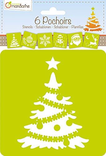 Avenue Mandarine 42455MD Schablonen Set, mit 6 Schablonen, 15 x 15 cm, geeignet für Kinder ab 3 Jahre, für Filz- und Farbstifte, Farben oder Farbbomben, Weihnachten, 6er Pack