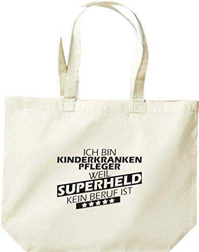 Shirtstown große Einkaufstasche, Ich bin Kinderkrankenpfleger, weil Superheld kein Beruf ist, natur