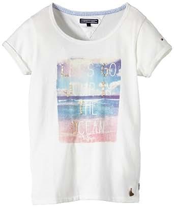Tommy Hilfiger Mädchen T-Shirt PHOTO SN KNIT Short Sleeve / EX57119381, Gr. 140 (10 Y), Weiß (100 CLASSIC WHITE)