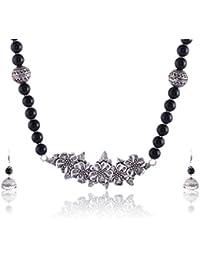 RAI COLLECTION Black Silver Strand Necklace Set For Women (RAI063)