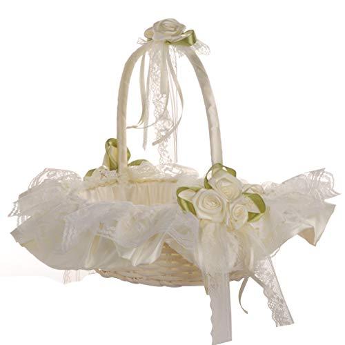 Preisvergleich Produktbild Busirde Hochzeits-Spitze-Blumen-Korb Zeremonie-Partei süße Mädchen Brautjungfer Bambus Sammlung Obstkorb