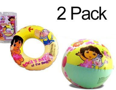 2-PACK Dora the Explorer Inflatable Swim Ring 20 (Dora's Day at the Beach) & 20 Beach Ball (Play Time Adventure) - Summer Toys by Melabra