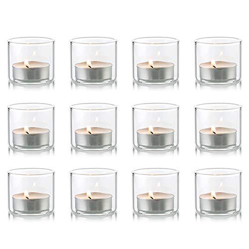 Nuptio Portacandele votivi in Vetro Trasparente, Set di 12 portacandele Mini