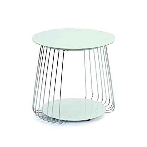 Paris Prix - Table Basse en Verre Raza 50cm Blanc