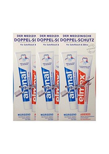 3x aronal Zahnpasta aronal und elmex Zahnpasta für Zahnfleisch & Zähne, Doppelpack 2x 75ml Zahncreme5ml Zahnfleischschutz mit Zink PZN: 9431782 elmex Forschung