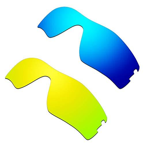 HKUCO Verstärken Ersatz-Brillengläser für Oakley Radar Pitch Blau/24 Karat Gold Sonnenbrille