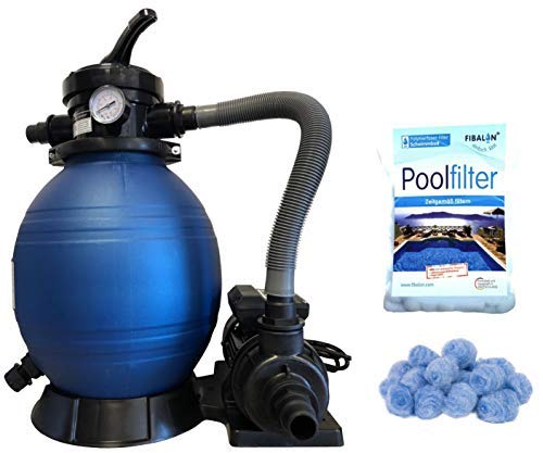 well2wellness Pool Sandfilteranlage Kompaktfilter D300 Plus 1 x 350g Filtermaterial Fibalon Pool