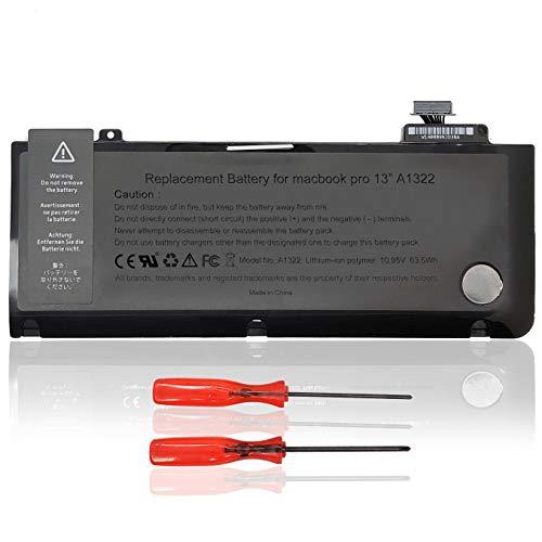 batteria per notebook portatile a1322 per apple macbook pro 13a1322 (a1278 metà 2009 metà 2010 inizio 2011 fine 2011 metà 2011 2012) mb990ll / a mb990ch / a mb990j / a -a10.95v 63.5 wh