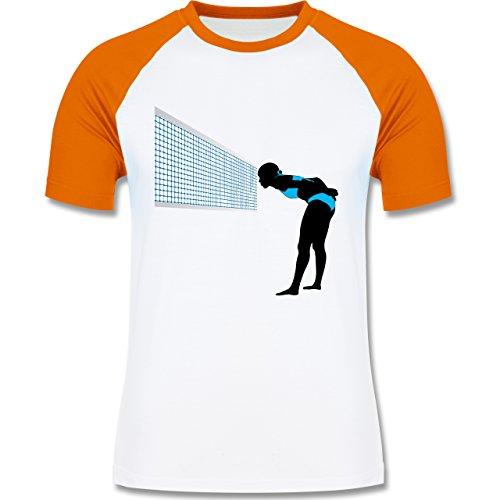 Volleyball - Volleyballspielerin Capitan Taktik Spielertaktik - zweifarbiges Baseballshirt für Männer Weiß/Orange