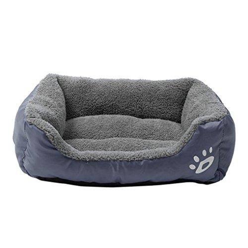 Hundebett,Traumzimmer Haustier Hund Katze Bett Welpen Kissen Haus Lauwarmen Tierheim - Hund Matte (Größe: S, Grau)