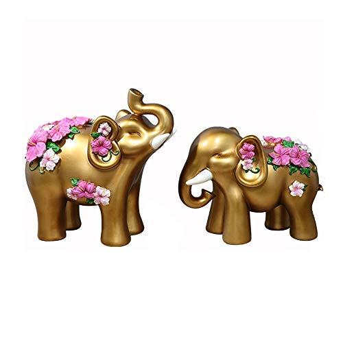 FENDOUBA Paar Elefanten (2er Set) Dekoration Figur Harz Skulpturen Statuen Mit Geschnitzten Blumen Handwerk Hochzeitsgeschenke Wohnkultur Esculturas (Color : Gold) -