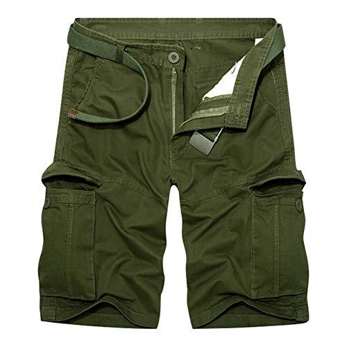 RMane HerrenCargo Shorts Baumwolle Lose Fit Kurz Hose SommerViele Tasche (Ohne Gürtel) (Armee grün, W36) (Grün Herren Für Cargo-shorts)