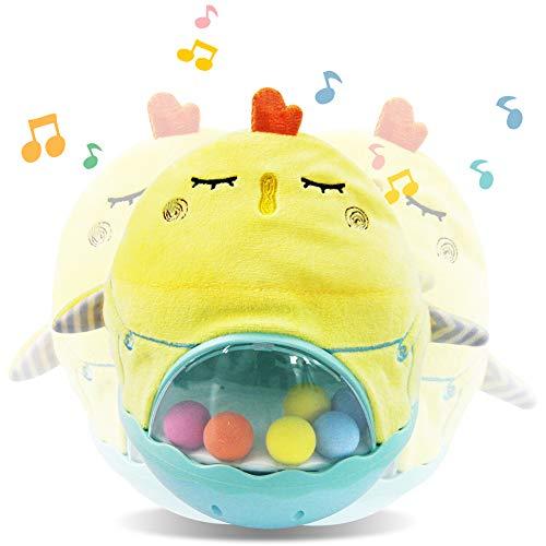 Plüschtier Baby Schlafendes Musik Spielzeug Hähnchen Kuscheltier mit Nachtlicht Weiches Spielzeug Baby Spieluhr Einschlafhilfe Geschenke für Neugeborene