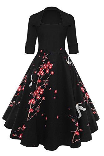 YMING Elegante Damen Midikleid mit Kragen Kleid für Büro Partykleid Cocktailkleid...