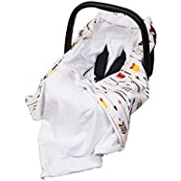 NEW!! UNIQUE DOUBLE-SIDED CAR SEAT BABY BLANKET / COVER / COSYTOES - FOOTMUFF! 100x100cm - COLOURFUL ARROWS / BLANKET WITH SEAT BELT HOLES