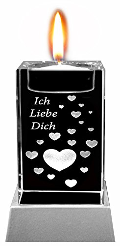 Kaltner Präsente Stimmungslicht - Das perfekte Geschenk: LED Kerze / Kristall Glasblock / 3D-Laser-Gravur Teelichthalter Herzen ICH LIEBE DICH