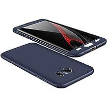 vanki Custodia Samsung Galaxy S7 Edge, 360 Gradi della Copertura Completa 3 in 1 Hard Stilosa Pc Case Cover Protettiva Bumper Posteriore per Galaxy S7 Edge (Samsung Galaxy S7 Edge, Blu)