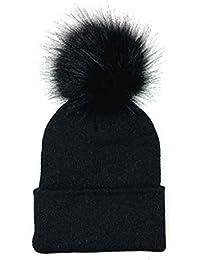 Bobury Mujeres Chica Pompón de Invierno Crochet Sombrero de punto Sombrero de Gorrita Tejida Caliente Sombrero