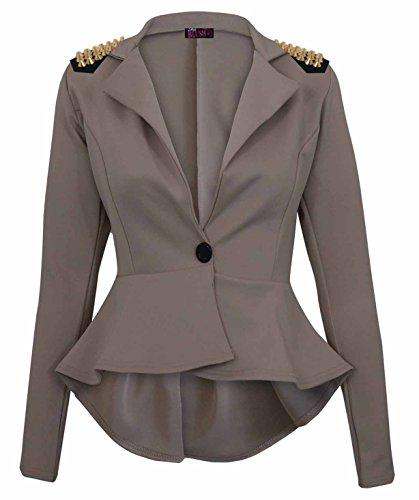 Janisramone femmes crop jabot shift slim fit peplum blazer veste manteau taille 8-24 SPIKE STUD MOKA