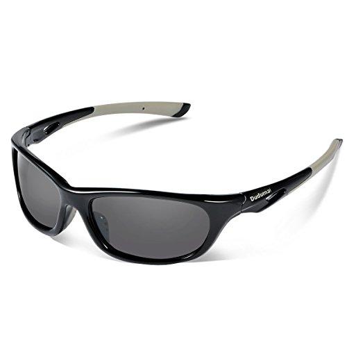 Duduma Gafas de Sol Deportivas Polarizadas Perfectas Para Esquiar Golf Correr Ciclismo con el Marco Du646 Irrompible Para Hombre y Para Mujer (marco negro con lente negro)
