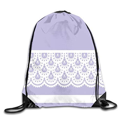 Dama Home White Skull Lace On Lavendel 40 Tabelle Drawstring Rucksack Rucksack Umhängetaschen Sport Sporttasche Reisen