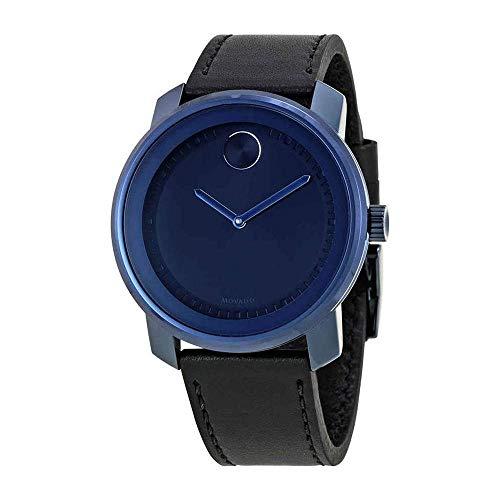 Movado Bold Homme 42mm Bracelet Cuir Noir Quartz Cadran Bleu Montre 3600408