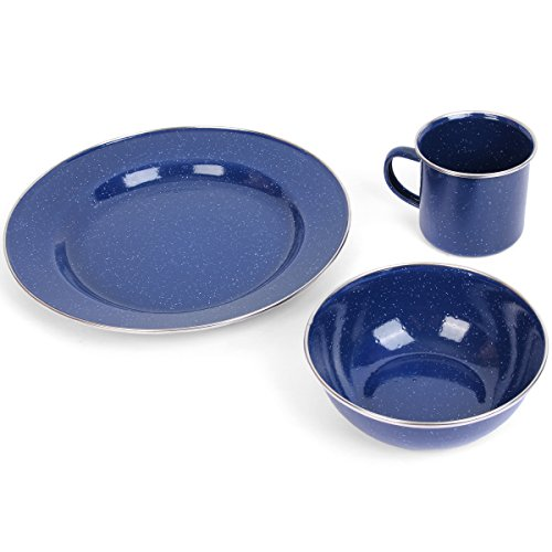 are Emaille Camping Abendessen Set, blau, 1 Set ()