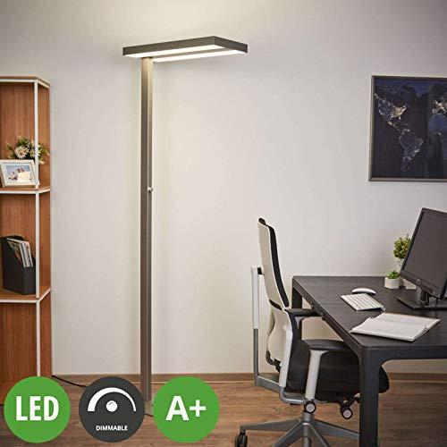 Lampenwelt LED Stehlampe \'Logan\' dimmbar (Modern) in Alu aus Aluminium u.a. für Arbeitszimmer & Büro (2 flammig, A+, inkl. Leuchtmittel) - Büro-Stehleuchte, Bürolampe, Arbeitsplatzlampe, Standleuchte