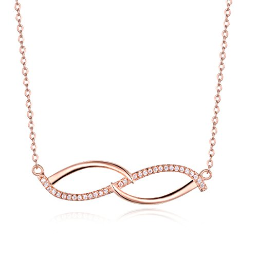 City Ouna® Rose Gold collana placcato Infinity per donne ragazze catena con diamante di cristallo di Swarovski Elements