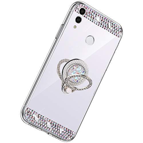 Herbests Kompatibel mit Huawei P Smart 2019 Hülle Glitzer Kristall Strass Diamant Silikon Handyhülle mit Ring Halter Ständer Schutzhülle Überzug Spiegel Clear View Handytasche,Silber