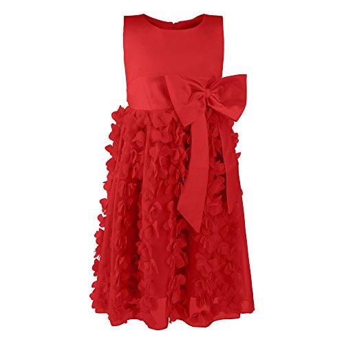 Katara 1715 - Mädchen Festkleid Prinzessin mit Rüschen, Tüll-Rock und Schleife, Rot